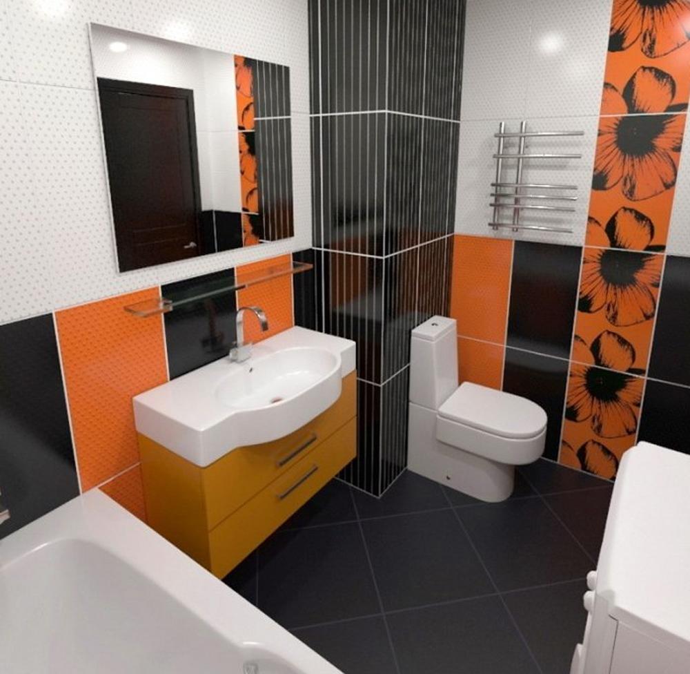 Интерьер ванны с туалетом и с одной батареей фото